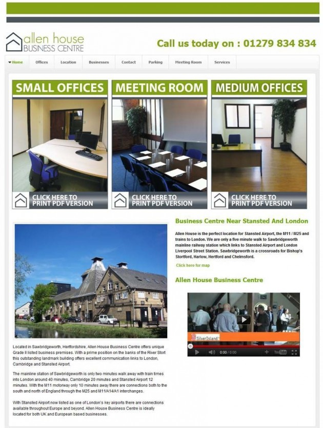 Fully optimised new website for a large Business Centre