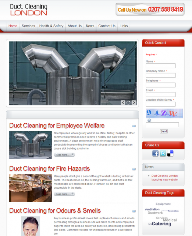 Duct Cleaning London – New Website!