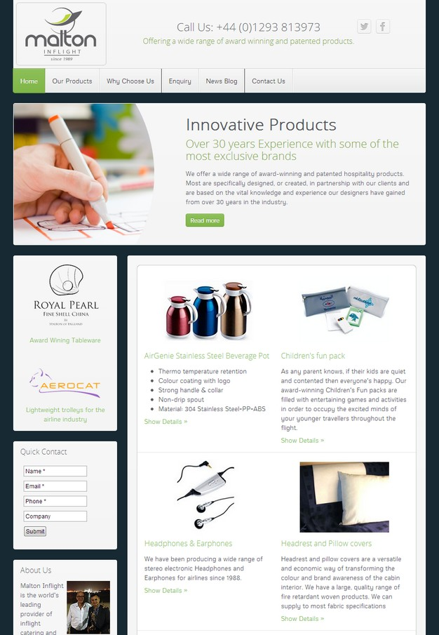 New website for an award winning inflight products manufacture