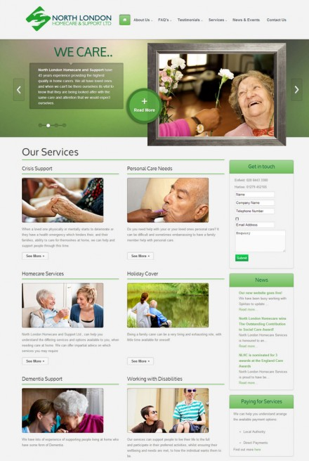 A easy to use website for a large home care provider.