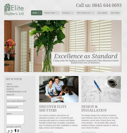 Conversion boosting website for Elite Shutters Brighton