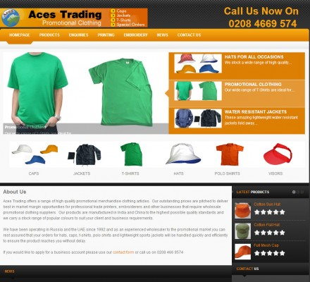 High quality, professional website for promotional clothing manufacturer