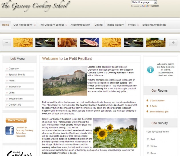 Website design for a French cookery school – c'est magnifique!