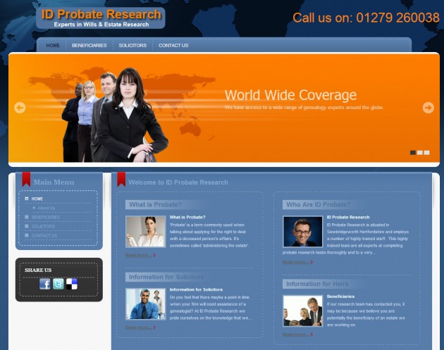Improved SEO for Probate research company