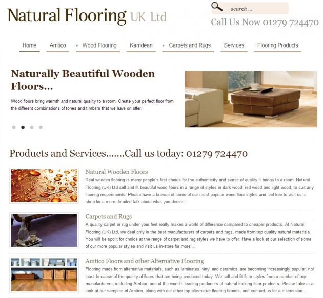 Modern website design for a natural flooring company