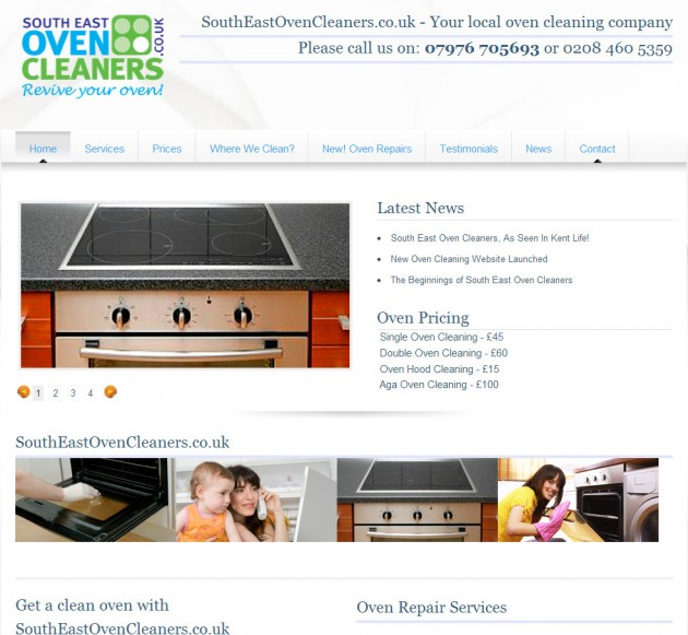 Oven cleaner's sparkling new marketing led website