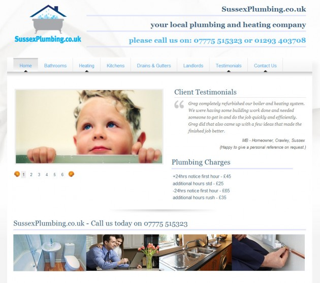 Local plumbing and heating company's new website design