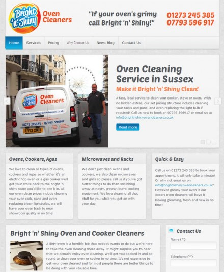 Bright 'n' Shiny Website for local cleaning firm