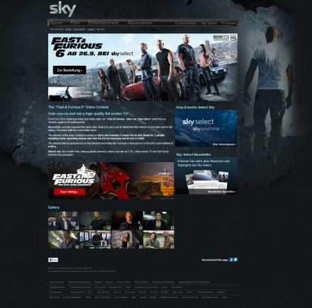 Sky.DE fully interactive Fast and Furious 6 Movie Promotion